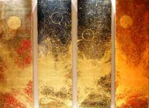 wave - acrylic, gold leaf on canvas